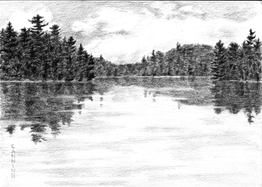 Genes Lake Tanamakoon Channel Drawing 5x7